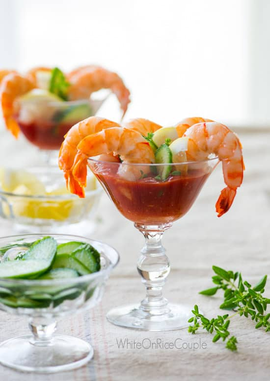 Sriracha Shrimp Cocktail Recipe With Hot Sauce White On Rice Couple