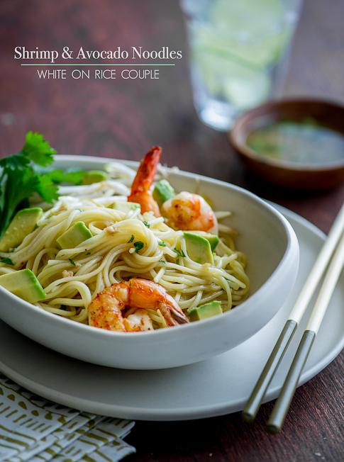 avocado Shrimp Noodle Salad in bowl