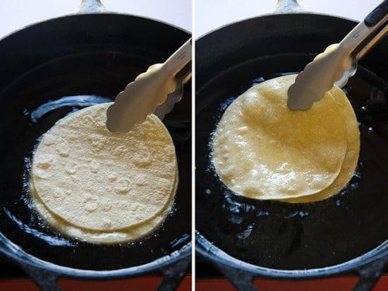 frying tortillas