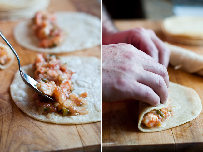 crispy shrimp tacos or taquitos from whiteonricecouple.com