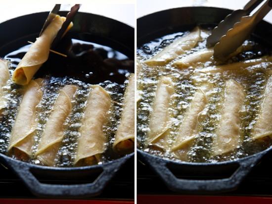 frying taquitos
