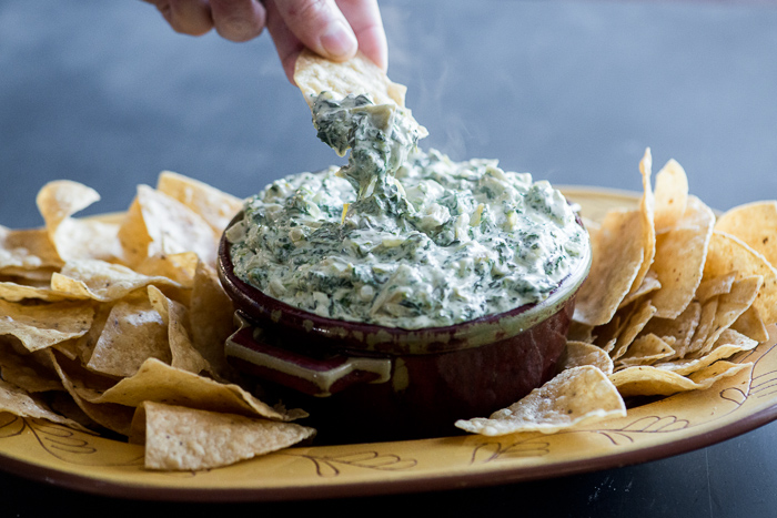 Stove Top Artichoke Spinach Dip Recipe and the best spinach dip for parties, game day appetizers @whiteonrice