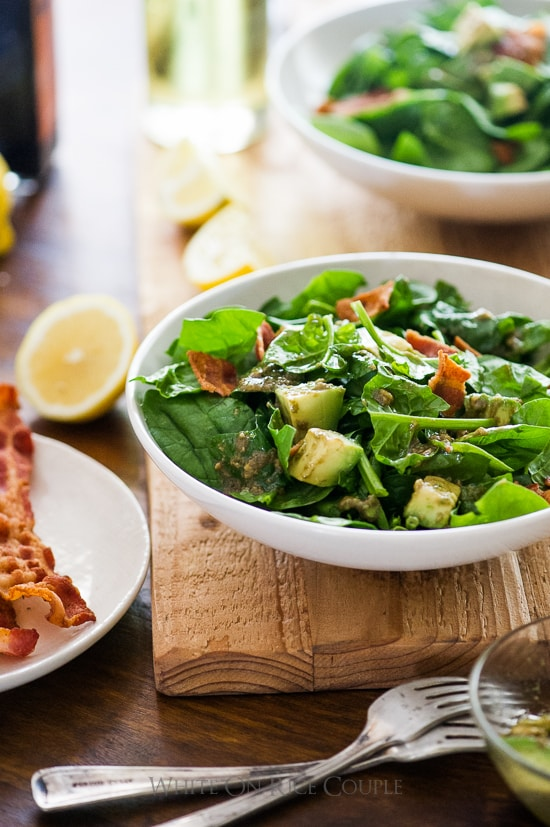 Bacon Spinach Salad with Amazing Avocado Vinaigrette | @whiteonrice
