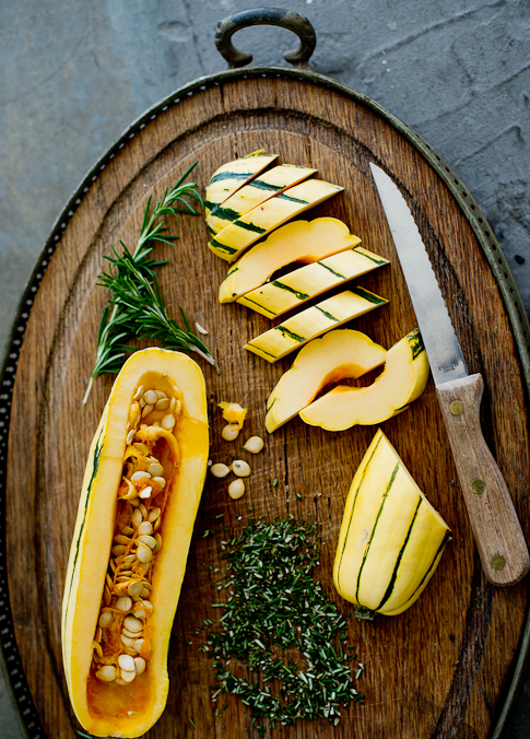 cut Roasted Delicata Squash with Rosemary