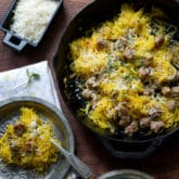 Healthy Spaghetti squash recipe with sausage and parmesan @whiteonrice