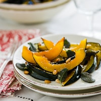 Thumbnail image for Roasted Acorn Squash w/ Sage, Pine Nuts & of course, Butter