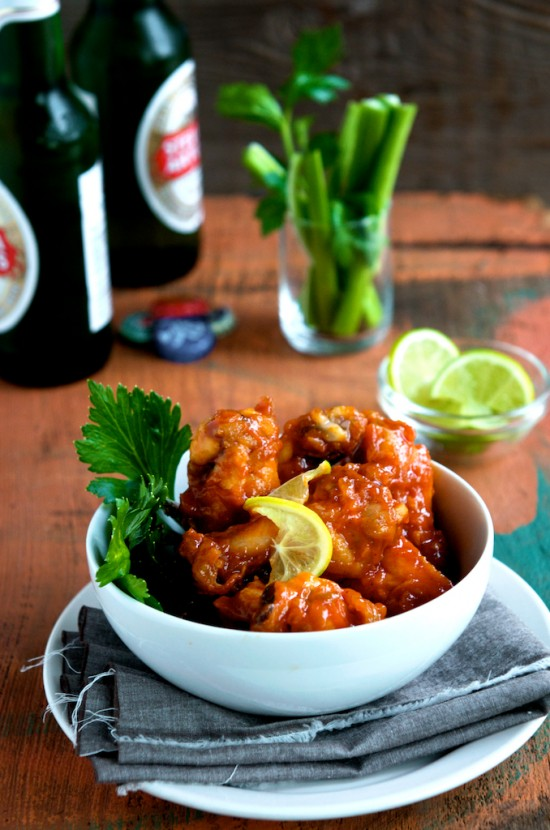 Sriracha Chicken Wings in a bowl