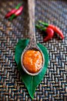 hot sauce on spoon