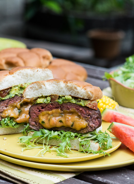 Jalapeño Cheddar Stuffed Burger on a plate
