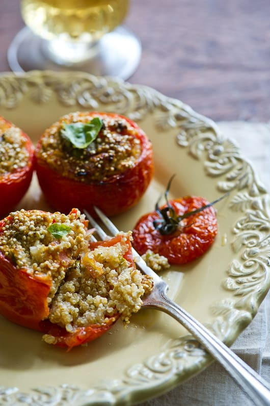 Vegetarian stuffed tomatoes with quinoa and tofu