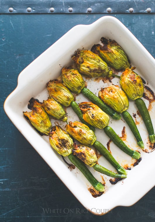 Stuffed Zucchini Flowers with Bacon, Mushroom and Ricotta | @whiteonrice