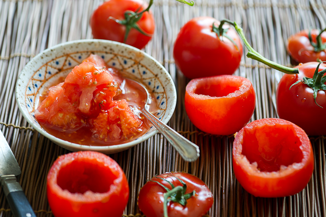 Vegetarian stuffed tomatoes with quinoa and tofu | @whiteonrice