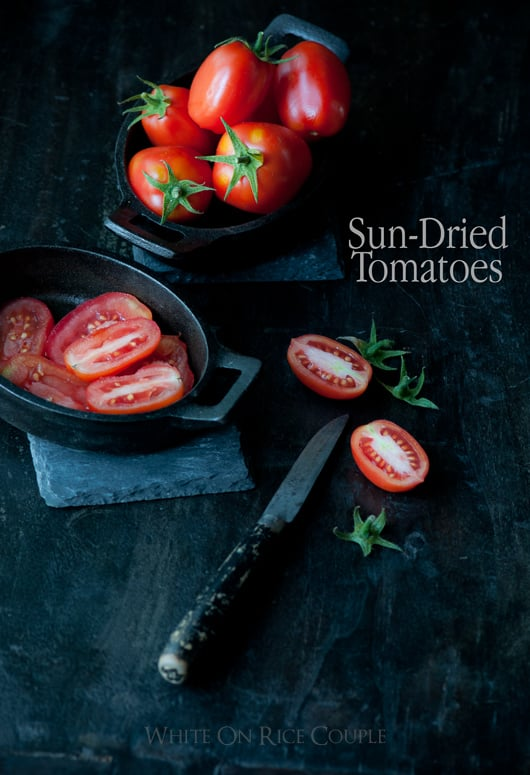 sun dried tomatoes placed in skillet dishes