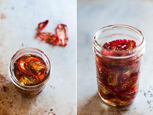 sun dried tomatoes in glass jars