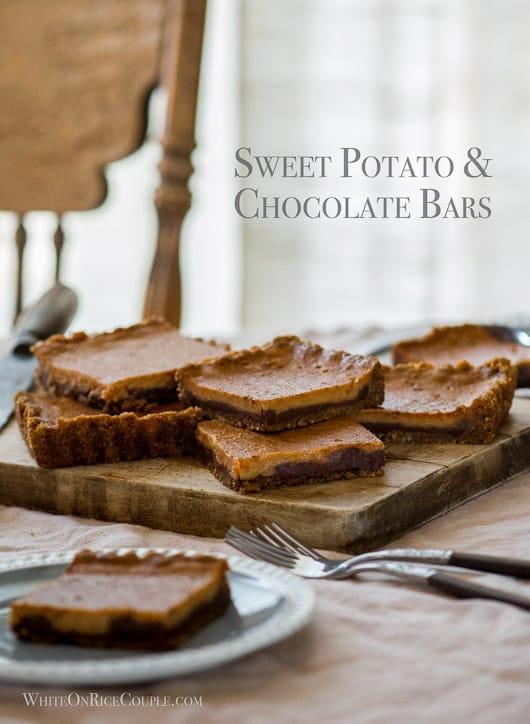 Sweet potato and chocolate bars on a cutting board