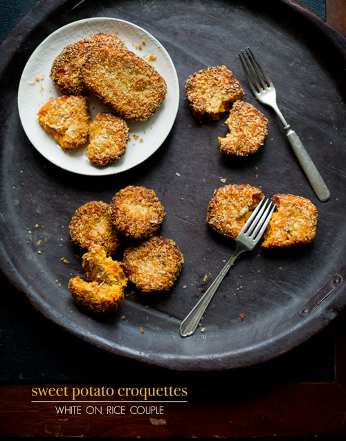 Crispy Sweet Potato Croquettes Recipe with Bacon Pancetta on a platter