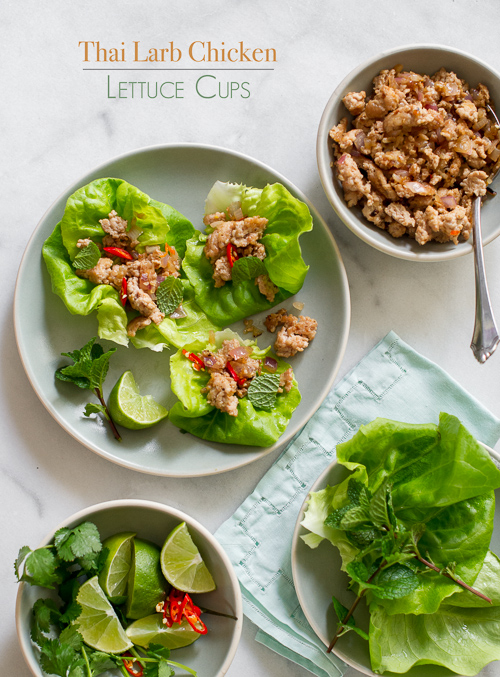 Thai Larb Chicken Lettuce Cups - White on Rice Couple