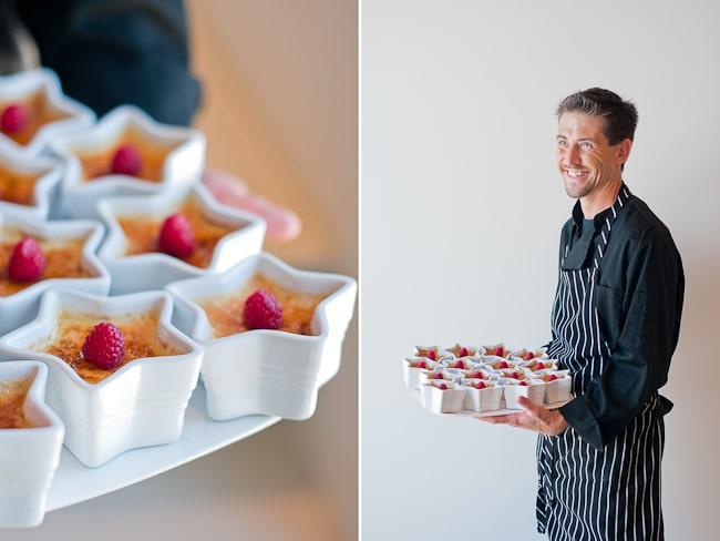 chef holding dessert