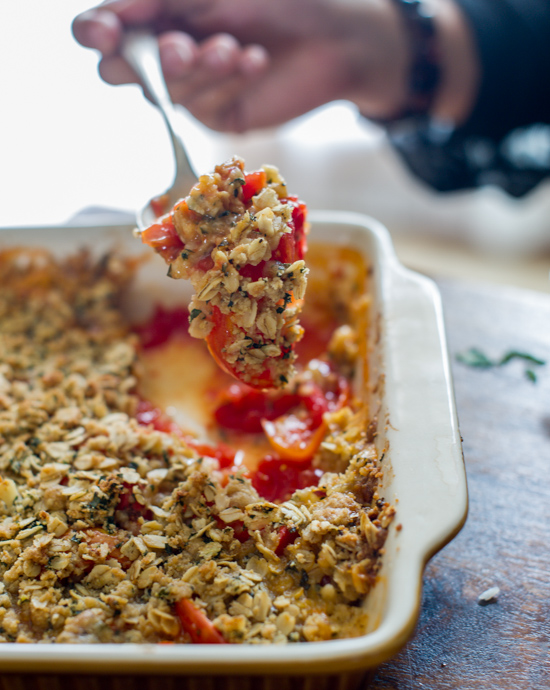 Savory Tomato Crisp Recipe with heirloom tomatoes from White On Rice Couple