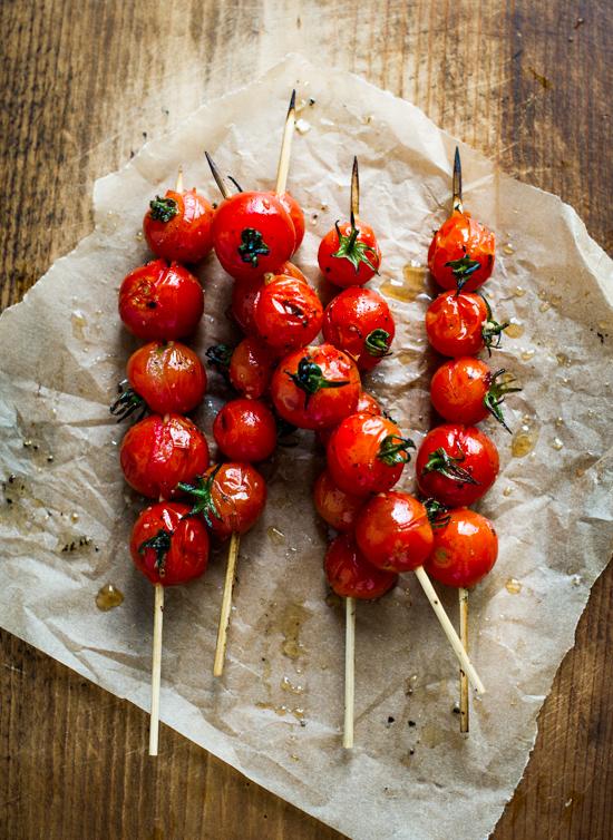 """Grilled Tomato Skewers """"Lollipops"""" in skewers"""