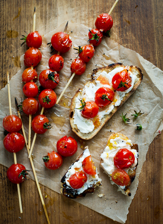 "Grilled cherry tomato skewers ""Lollipops"" Toasts for Summer Tomato Recipe on WhiteOnRiceCouple.com @whiteonrice"