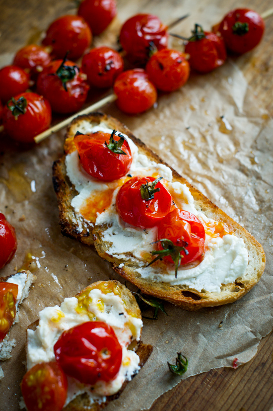 """Grilled Tomato Skewers """"Lollipops"""" on toast"""