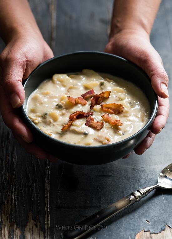 Creamy New England Clam Chowder in a bowl