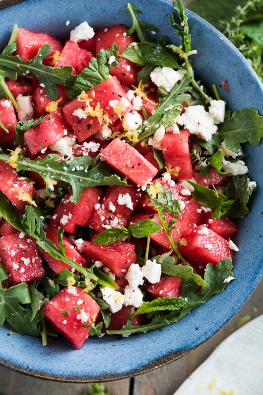 Arugula Watermelon Feta Salad Recipe with Mint