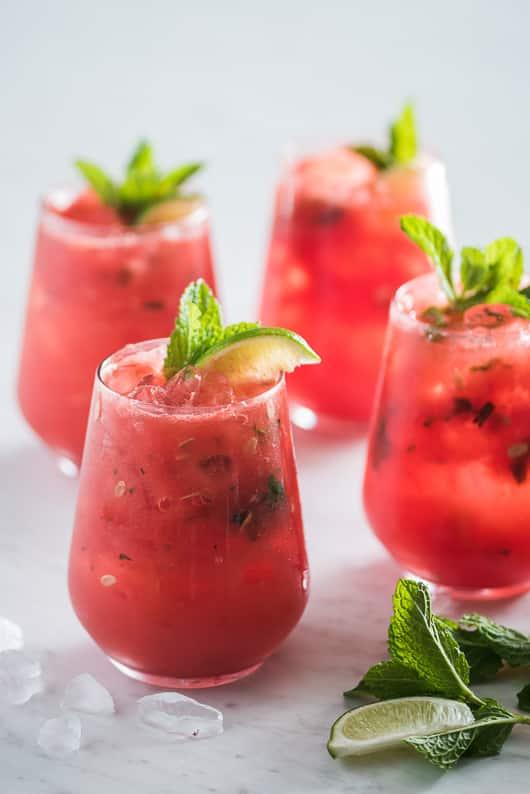 Inside-A-Watermelon Mojito in glass cups