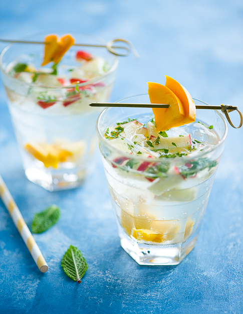 Tropical Sangria Recipe with Mint, Fresh Fruit & White Wine | @whiteonrice
