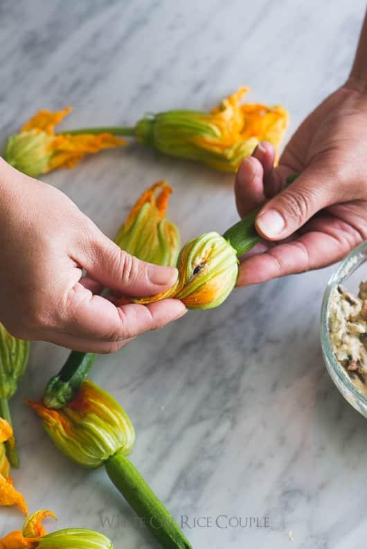 Vietnamese Pork Stuffed Zucchini Flowers