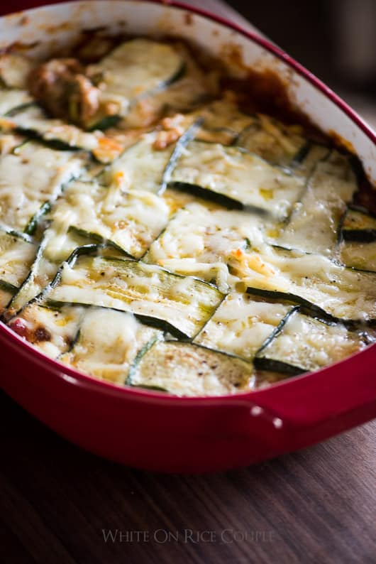 No Pasta, Zucchini Lower-Carb Lasagna in a baking dish