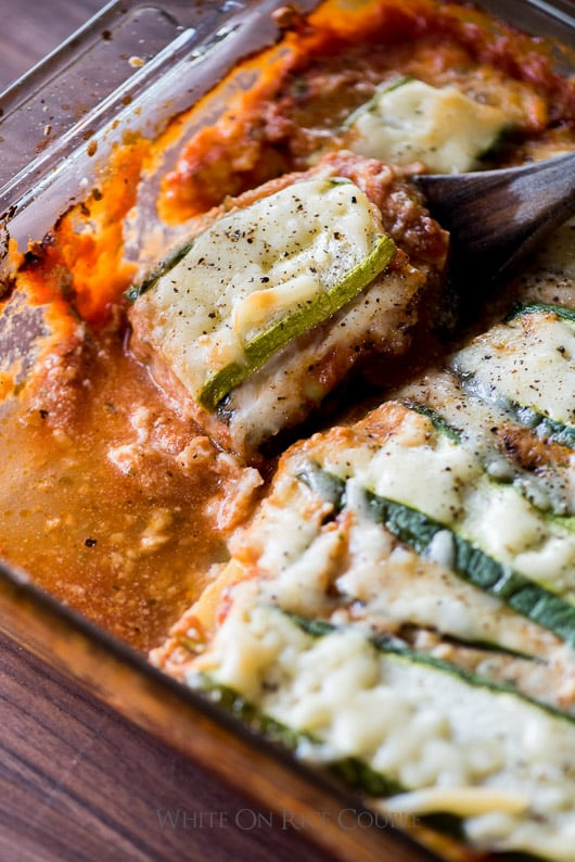 No Pasta, Zucchini Lower-Carb Lasagna close up in a glass baking dish