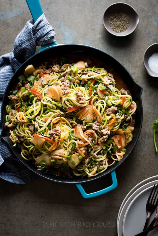 Asian Zucchini Noodle Stir Fry with Pork And Korean Kim Chi | @whiteonrice