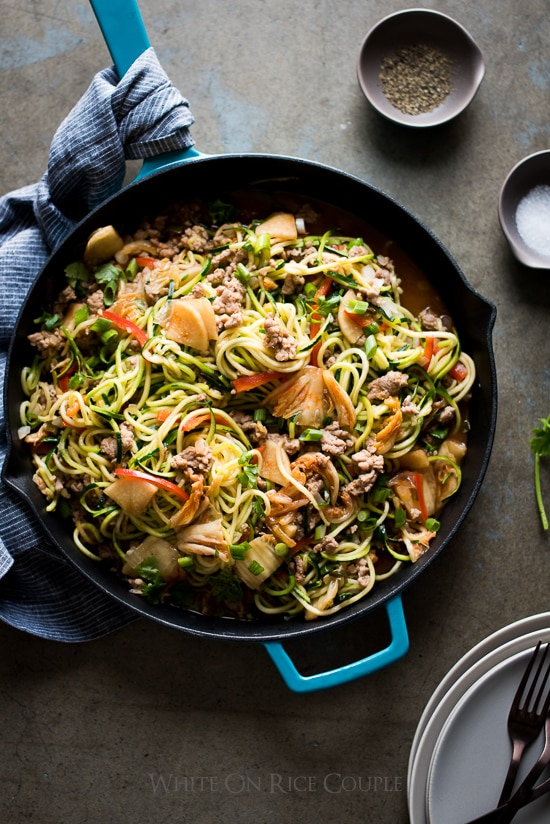 Korean Zucchini Noodles Stir Fry with Pork And Korean Kim Chi | @whiteonrice