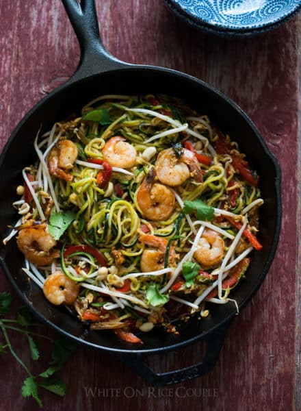 Healthy Zucchini Noodle Pad Thai Recipe on @WhiteOnRice