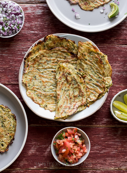 "Soft ""Taco"" Shells made from Zucchini: Healthy, Low Carb and Delicious @whiteonrice"