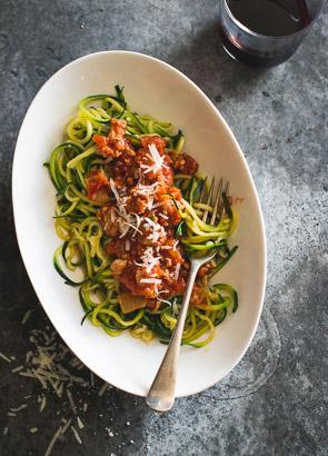 Healthy Zucchini Noodles with Turkey Marinara Sauce